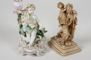 """A C19th Chelsea porcelain figural candlestick modelled as a boy with a corn sheaf, 8"""" high, A/F,"""