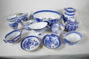 A collection of early C19th blue & white china, including pearlware teapot, Coalport jug, etc. A/F