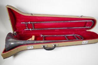 A Skylark silver plated trombone, in fitted case