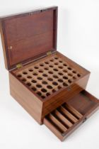 """A C19th mahogany apothecary's box, with base drawer and fitted interior, 10"""" x 7½"""" x 5½"""""""