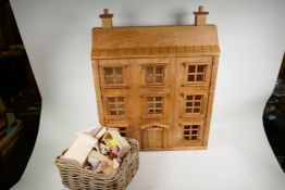 """A scratch built dolls house and a quantity of furniture and accessories, 22"""" wide, 28"""" high"""
