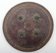 Small Heavy Indian Hide Shield Dhal from Ahmedabad, Maratha Empire (Gujerat Culture) First Half of t