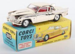 "Corgi Toys 211S Studebaker ""Golden Hawk"" gold plated body, white side flash, red interior, shaped"