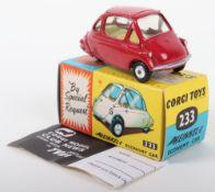 Corgi Toys 233 Heinkel Economy Car Scarce dark red body