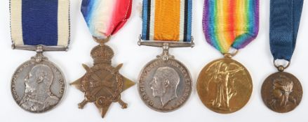 Royal Navy WW1 Medal Trio and Edward VII Long Service Good Conduct Group