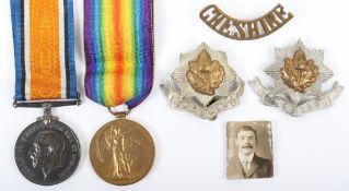 Great War 10th Battalion Cheshire Regiment 1918 Prisoner of War Medal Pair