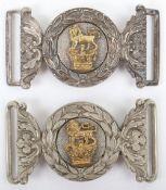 2x Victorian Levee Pattern Sword Waist Belt Buckles