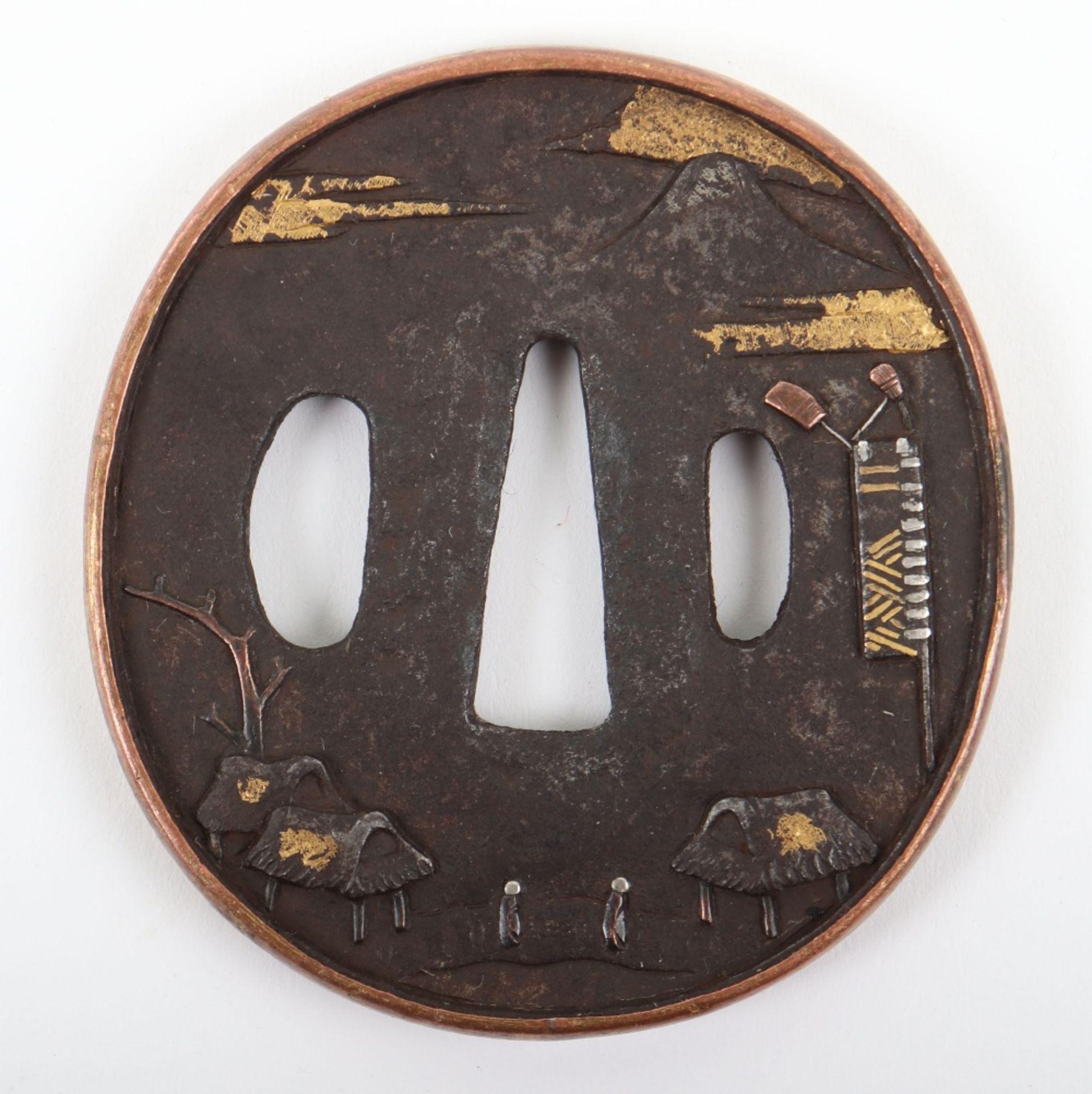 Japanese Oval Iron Edo Tsuba, 19th Century
