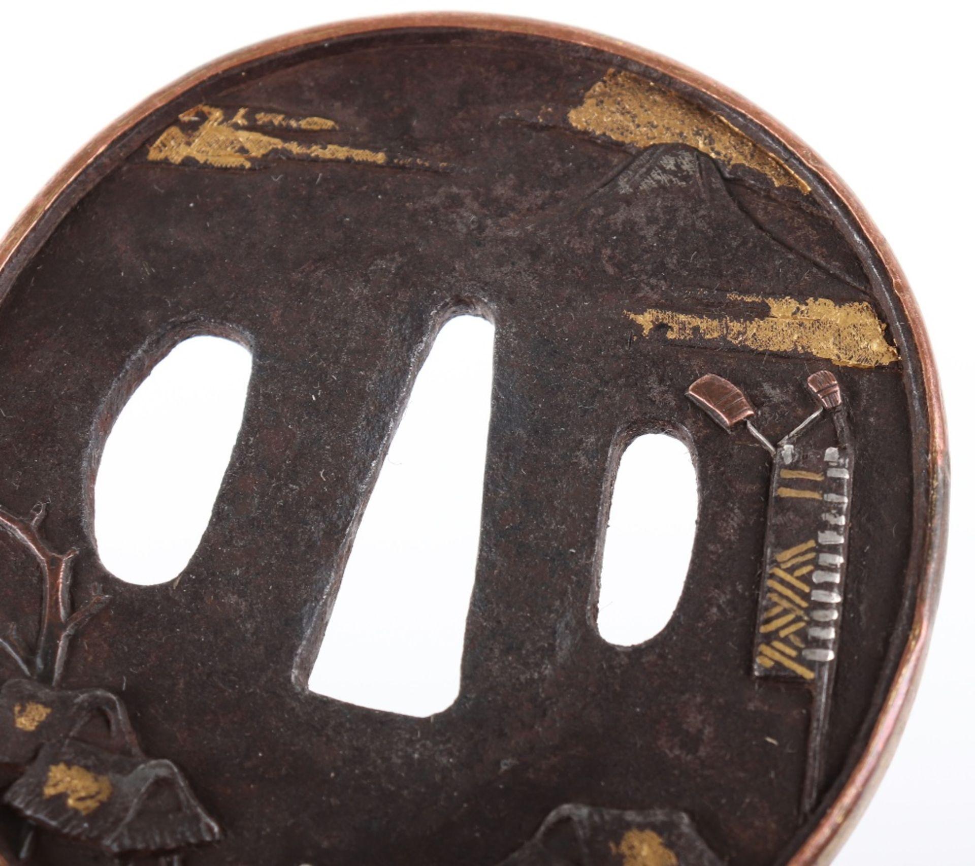 Japanese Oval Iron Edo Tsuba, 19th Century - Image 3 of 8