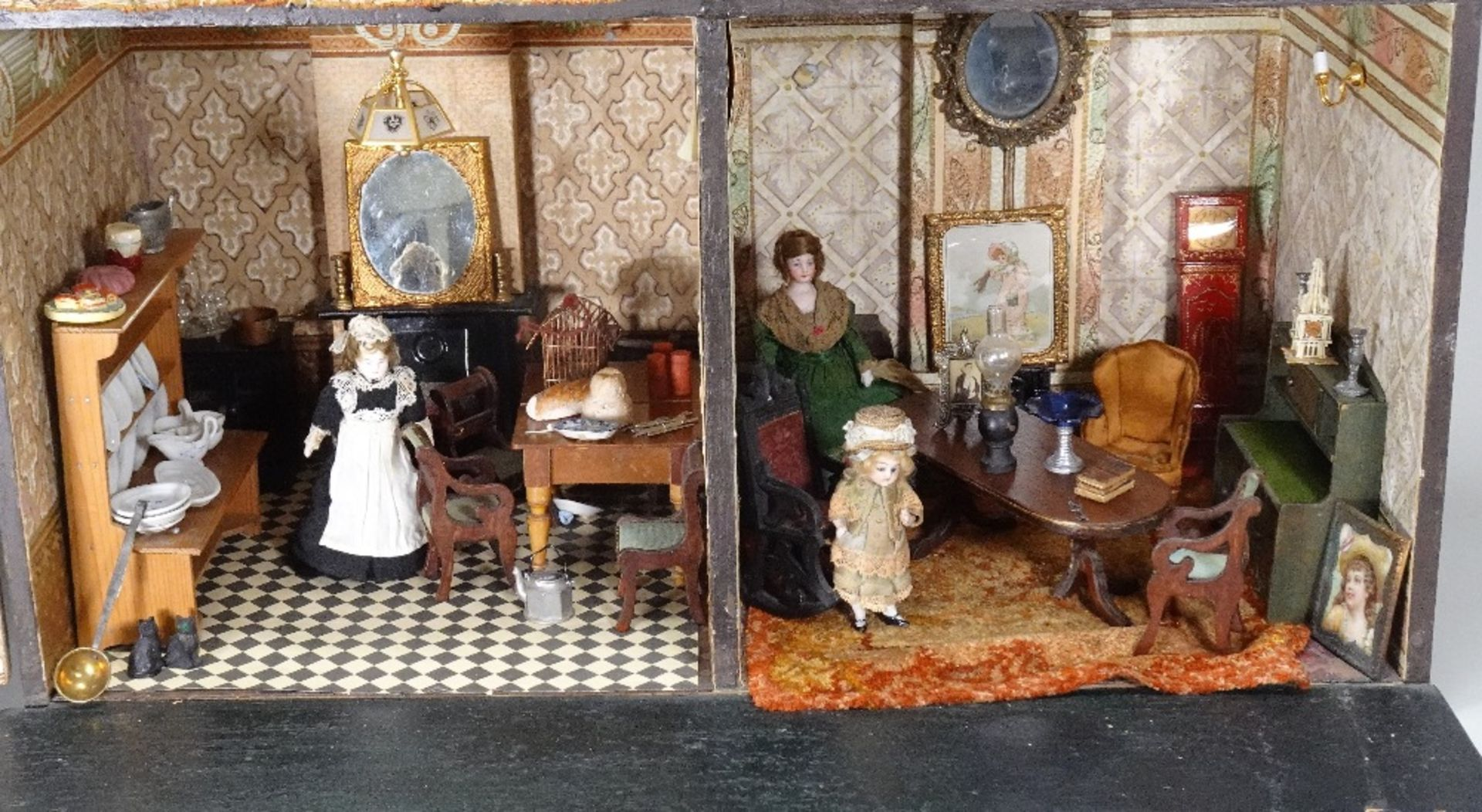 A large furnished Silber & Fleming painted wooden box-back dolls house, German 1880s, - Image 3 of 5