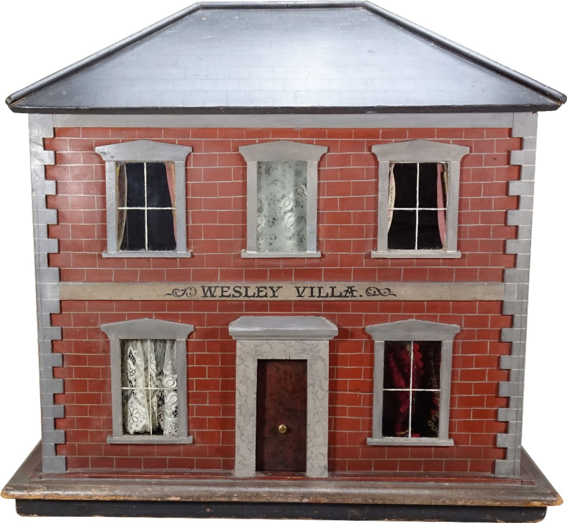 'Wesley Villa' a fine painted wooden red brick Victorian dolls house, English circa 1860,