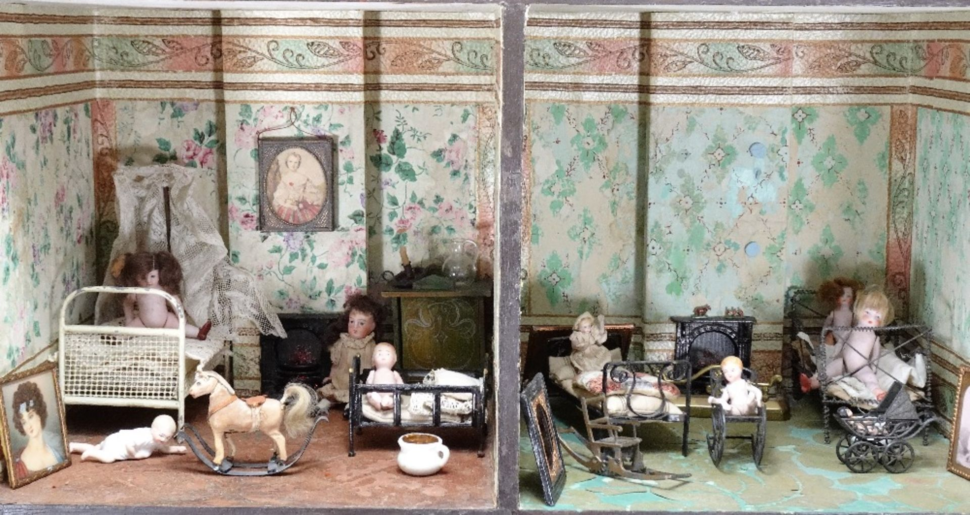 A large furnished Silber & Fleming painted wooden box-back dolls house, German 1880s, - Image 5 of 5