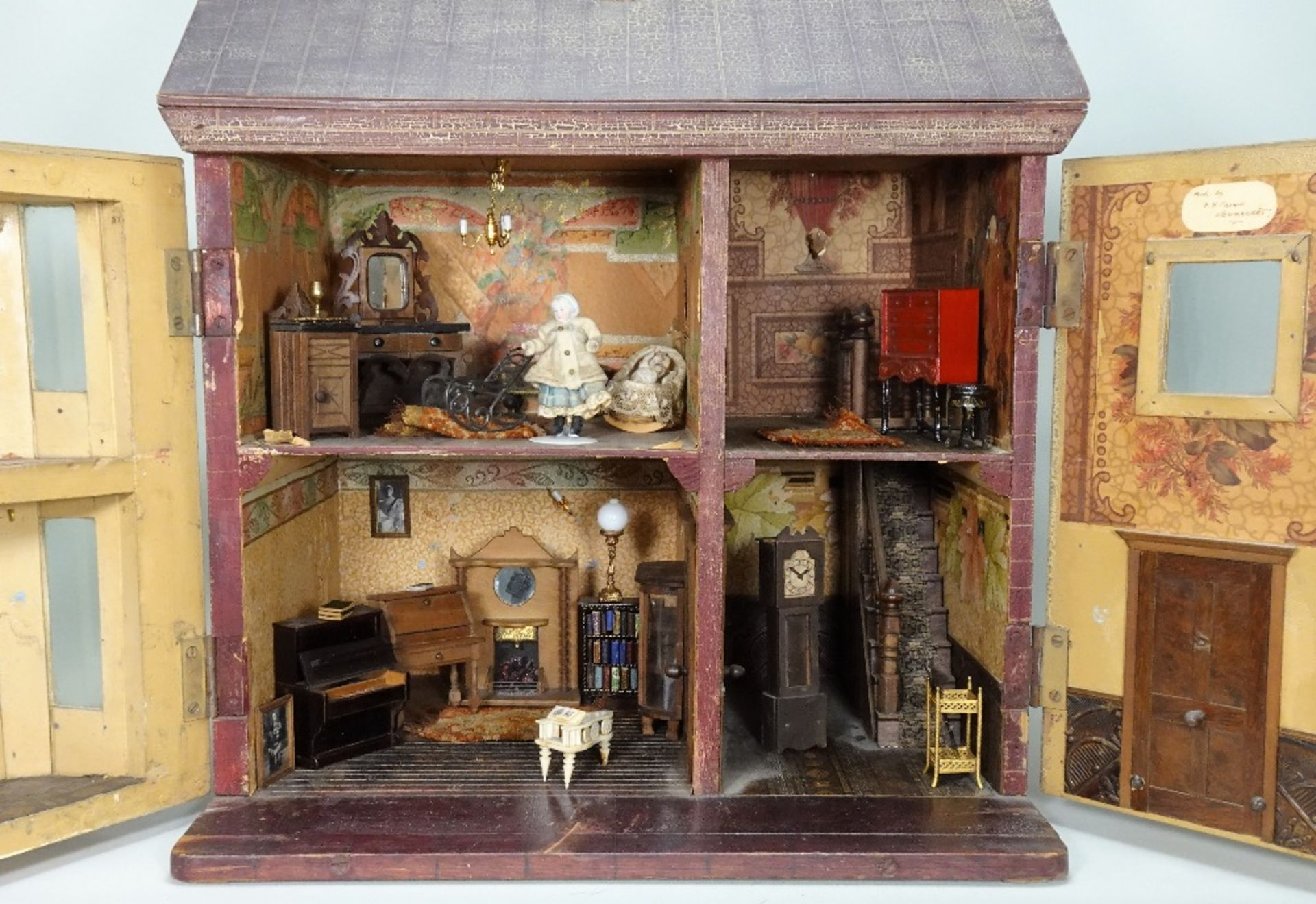 A traditional painted wooden dolls house, made by F.H.Crowe, Newmarket probably 1920s, - Image 2 of 2