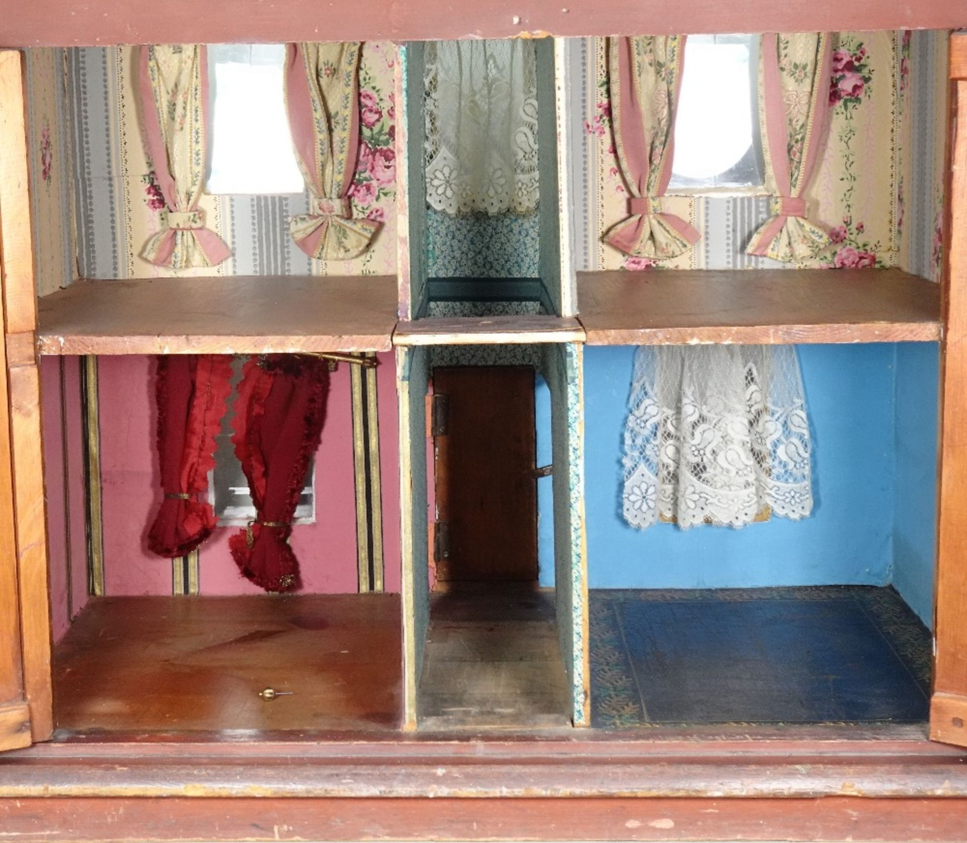 'Wesley Villa' a fine painted wooden red brick Victorian dolls house, English circa 1860, - Image 2 of 4