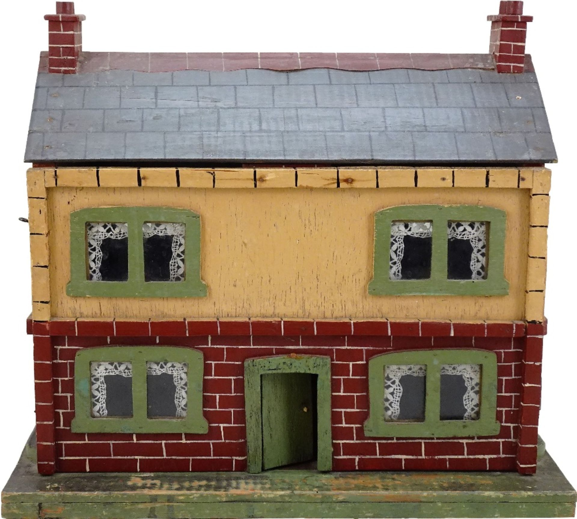 A small painted wooden dolls house, English circa 1920,
