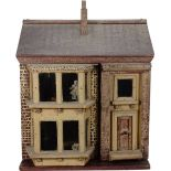 A traditional painted wooden dolls house, made by F.H.Crowe, Newmarket probably 1920s,