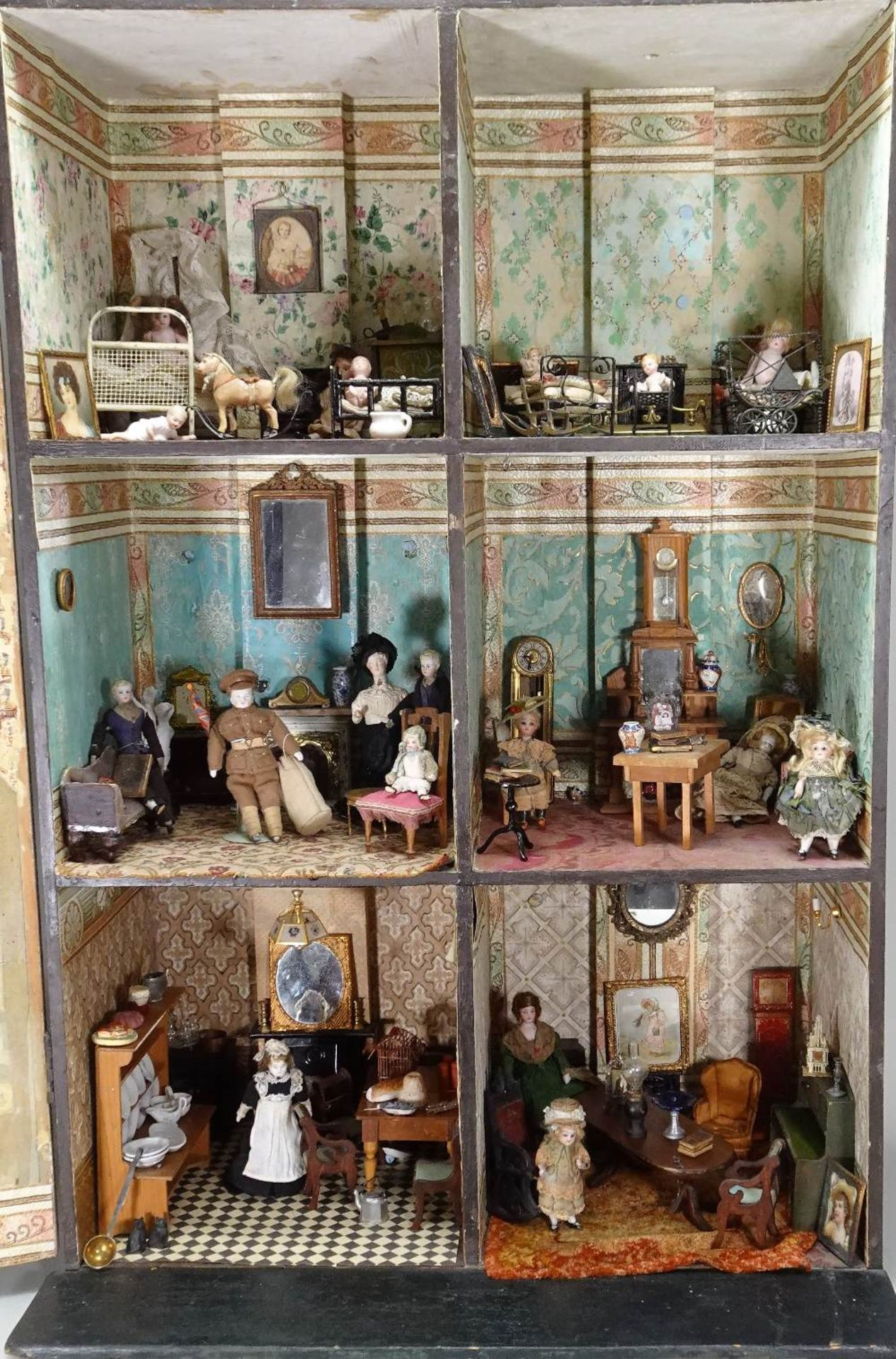 A large furnished Silber & Fleming painted wooden box-back dolls house, German 1880s, - Image 2 of 5