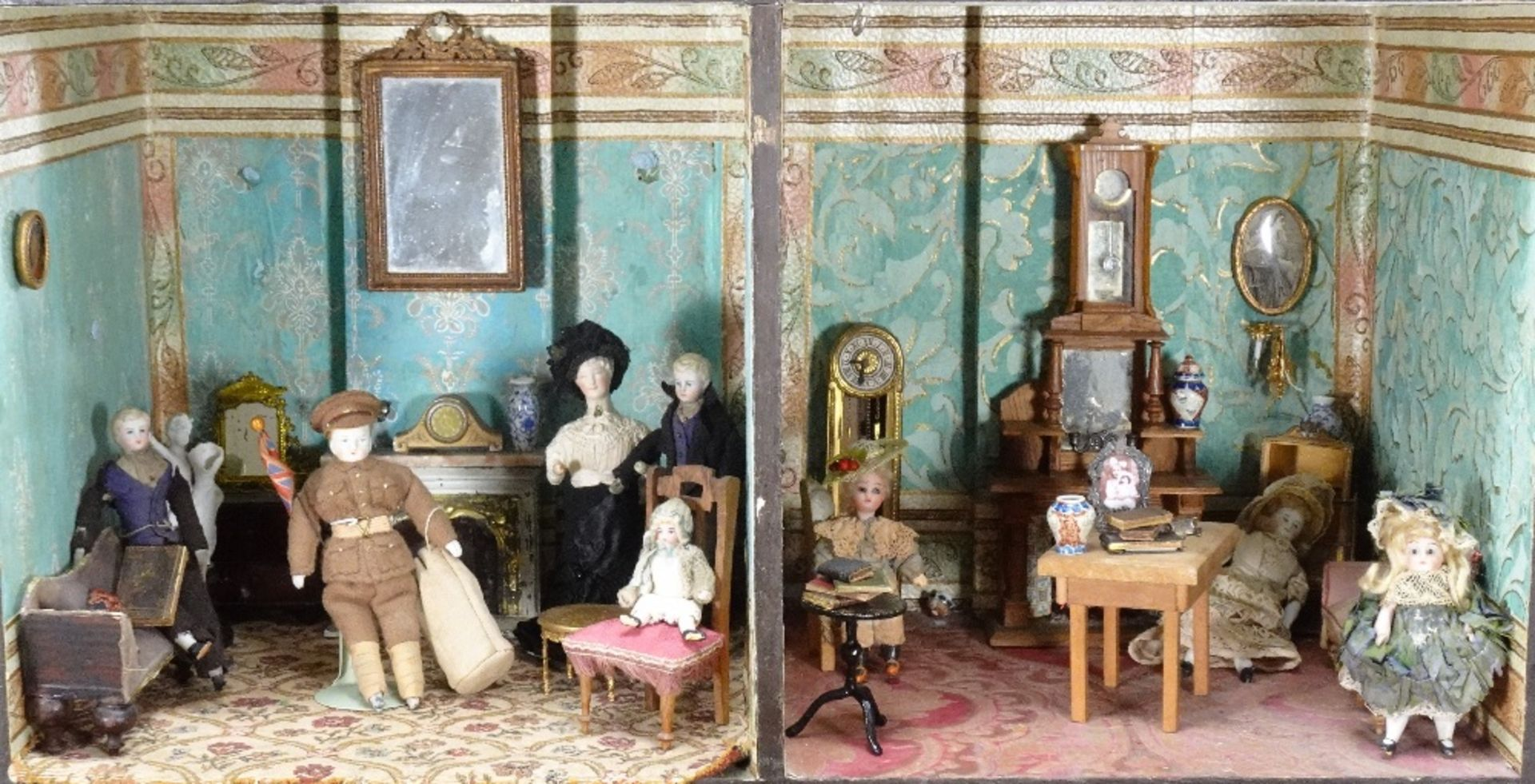 A large furnished Silber & Fleming painted wooden box-back dolls house, German 1880s, - Image 4 of 5