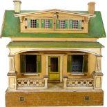 An unusual 'Moko' painted wooden dolls house, German 1920s,