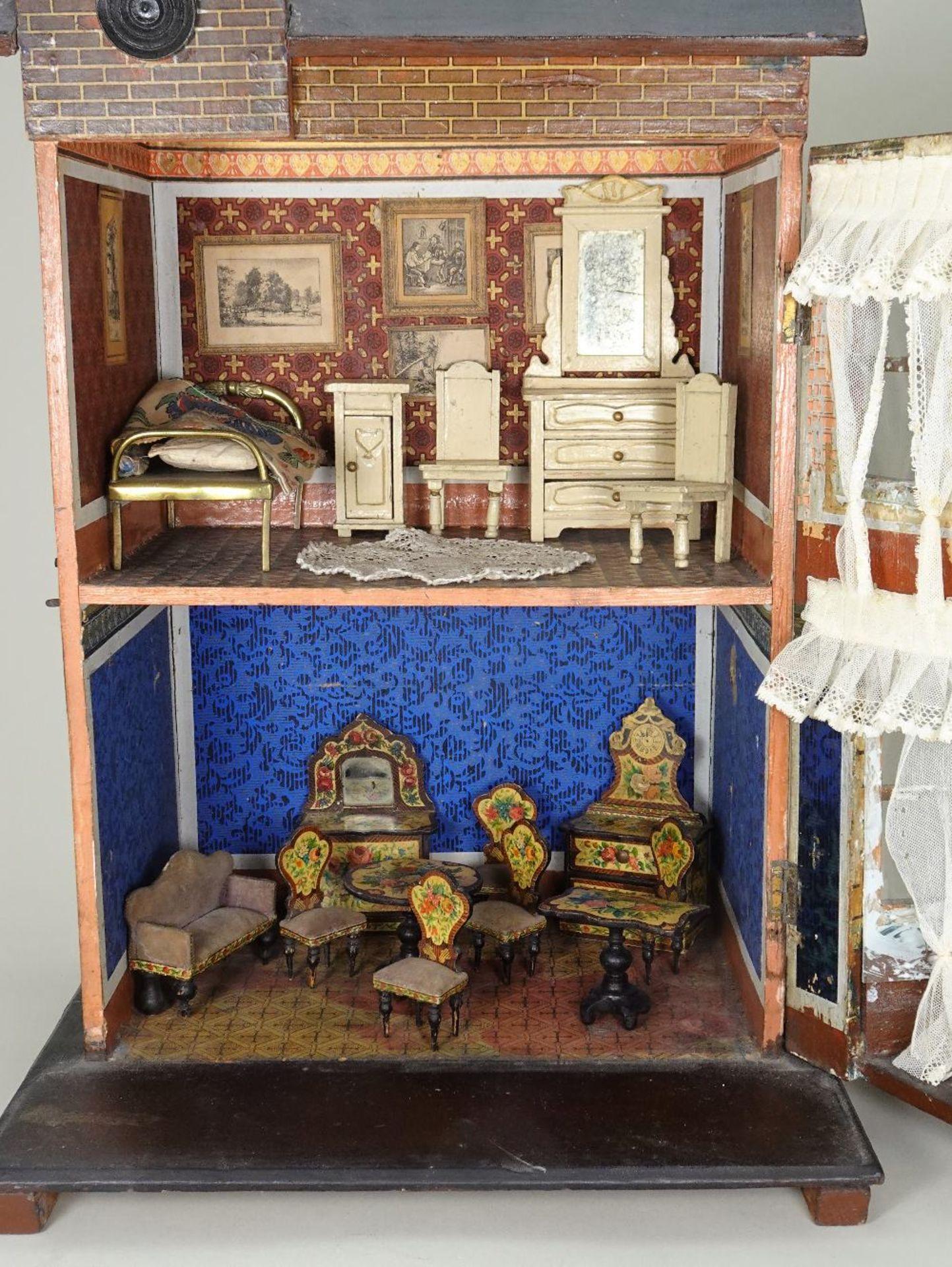 A Moritz Gottschalk dolls house with furniture, German circa 1890, - Image 2 of 2
