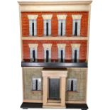 A large furnished Silber & Fleming painted wooden box-back dolls house, German 1880s,