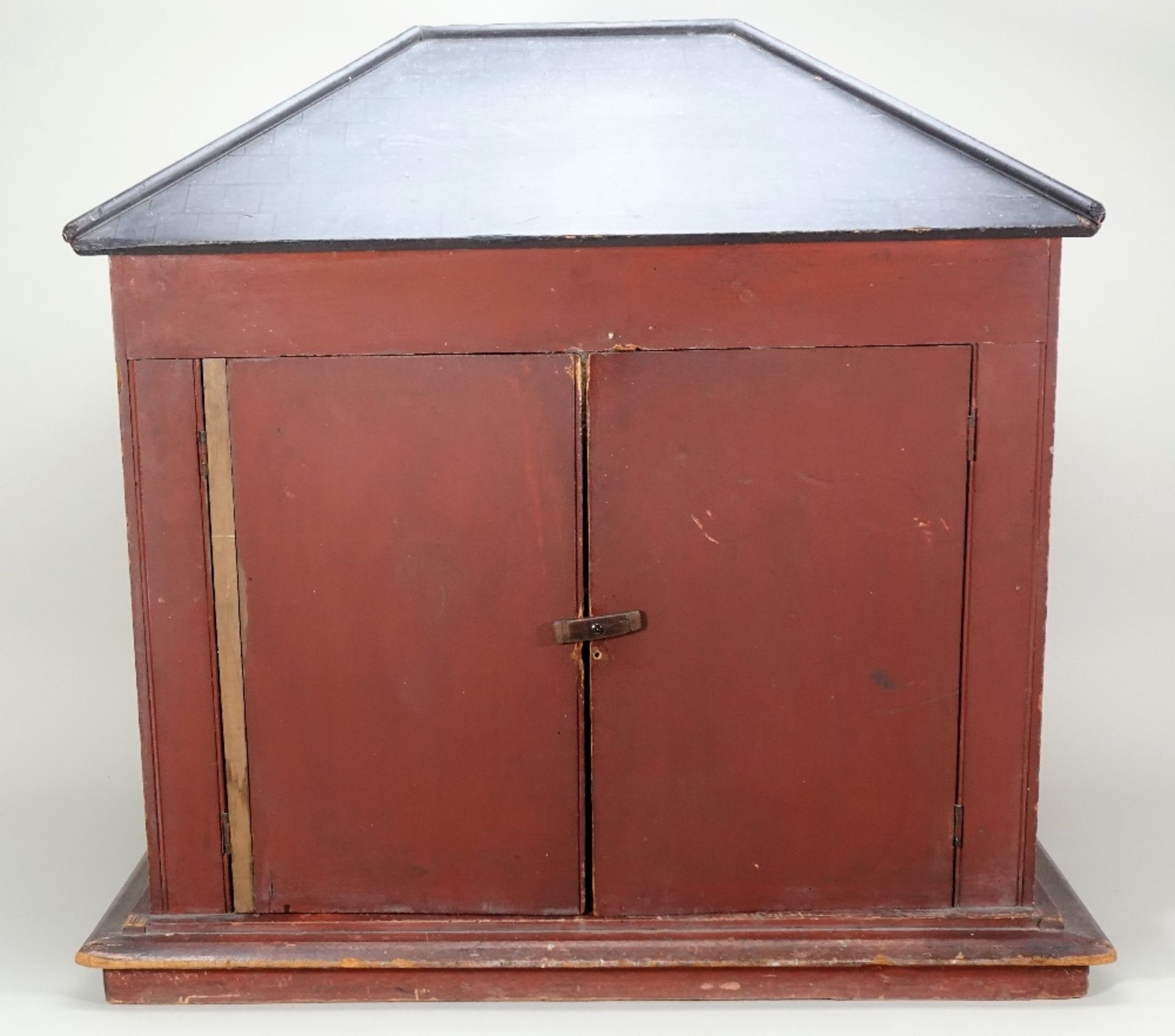 'Wesley Villa' a fine painted wooden red brick Victorian dolls house, English circa 1860, - Image 4 of 4