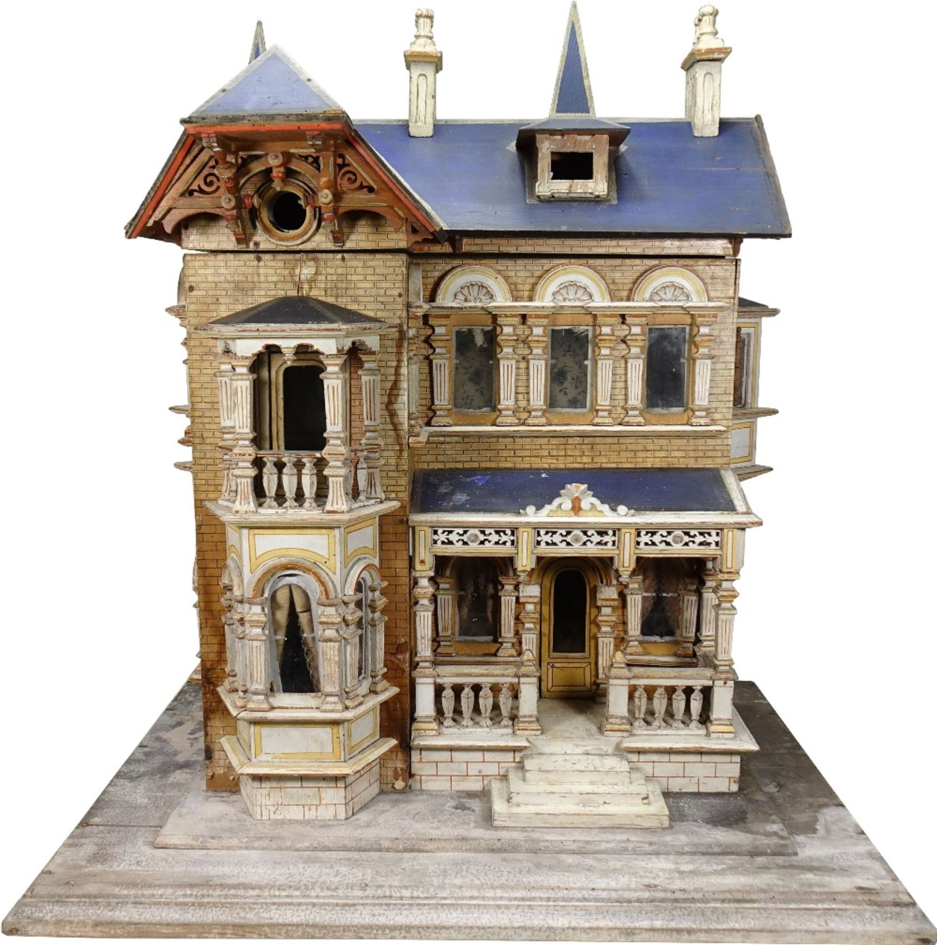 A large and impressive Moritz Gottschalk blue roof dolls house model: 2556/2 in original condition,