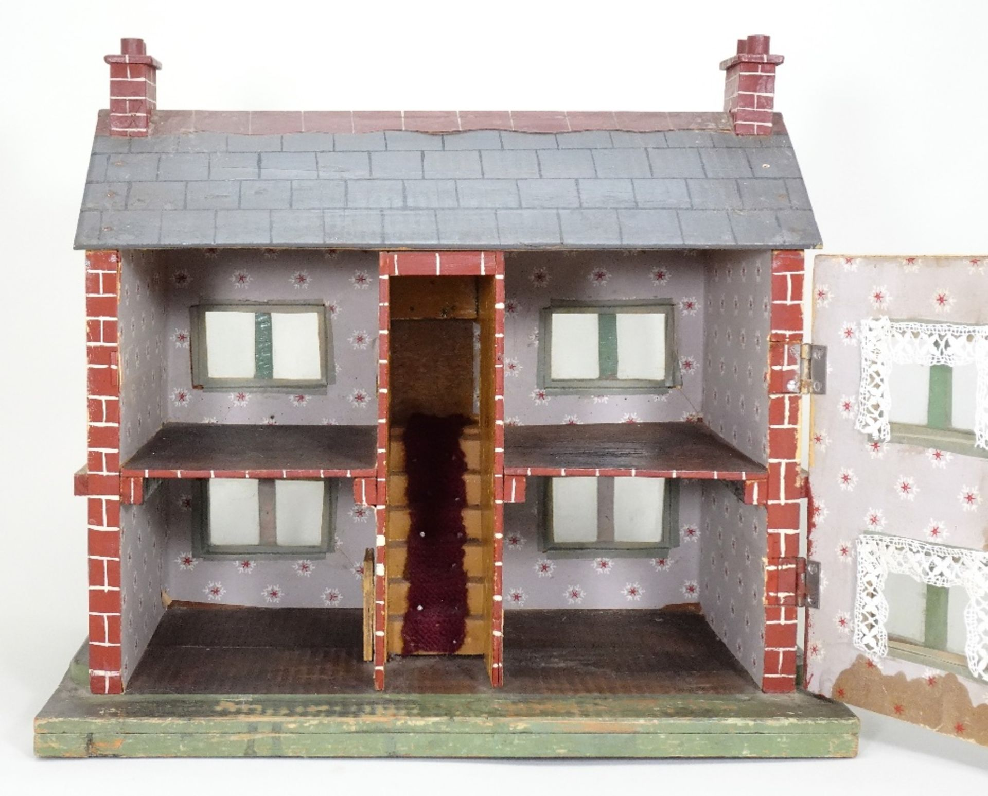 A small painted wooden dolls house, English circa 1920, - Image 2 of 4