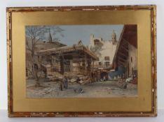 John Varley (1850-1933), watercolour, Arab street scene