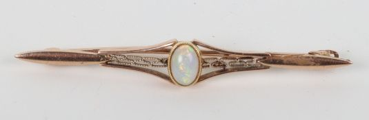 An Edwardian 9ct gold and opal set brooch