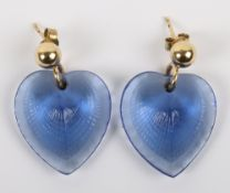 A pair of Lalique blue glass earrings