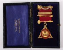 A 9ct masonic medal, 'Decimus Nonus' 1949-1950, Progress Chapter No. 1768