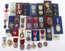 A large quantity of silver and silver and enamel Masonic medals