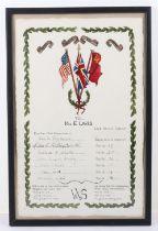 WW2 WVS framed certificate
