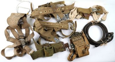 Assortment of WW2 US & British parachute harnesses and straps