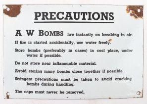 WW2 Precautions A W BOMBS enamel sign