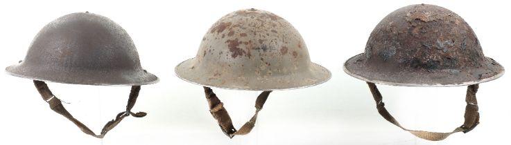 3x British WW2 Steel Helmets