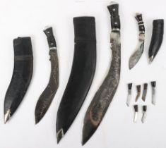 3x Nepalese Gurkha Kukri Knives