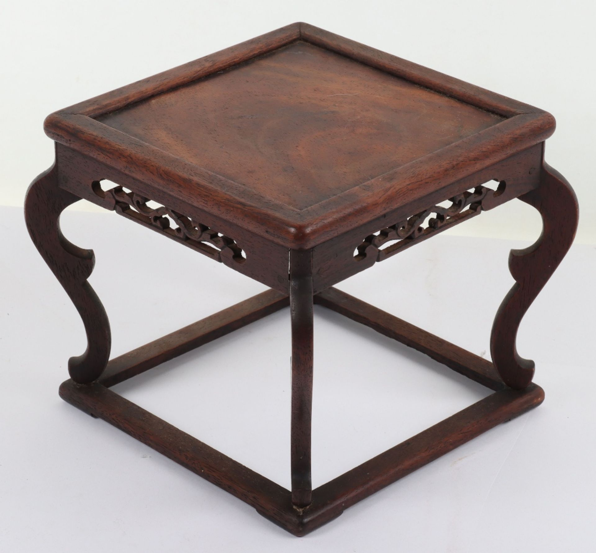 A 19th century small Chinese hardwood carved candle stand - Image 4 of 6