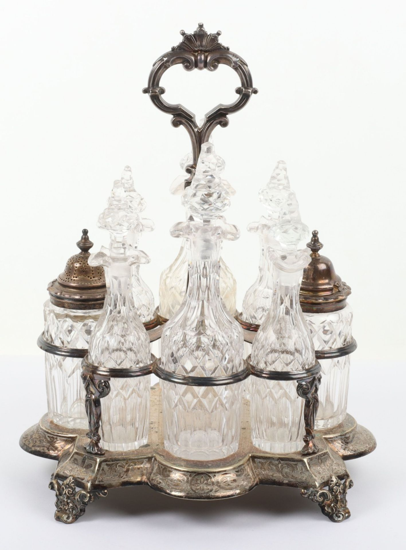 A Victorian silver and silver plated glass cruet set - Image 3 of 23