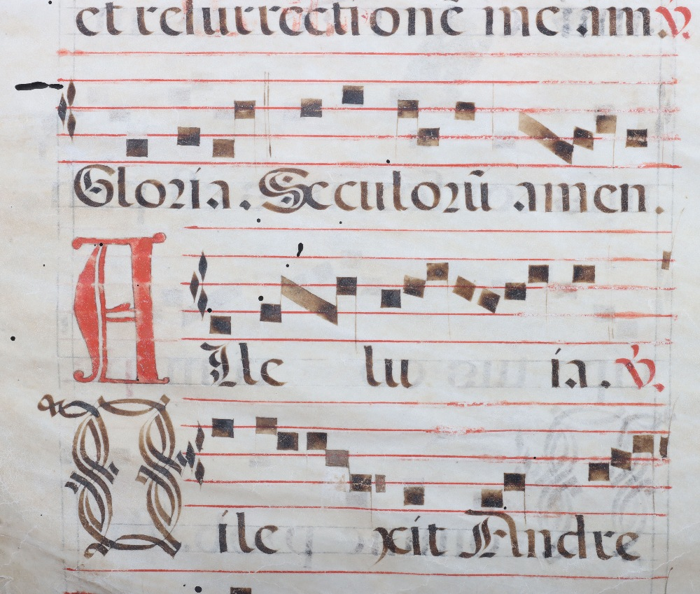 An 18th century velum page of antiphonal choral script - Image 3 of 4
