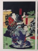 A late 19th century Japanese triptych woodblock print, in the style of Kunisada,