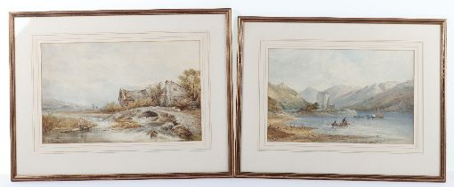 Two F Beattie watercolours, fishermen in a lock with castle in background, the other fisherman in ri