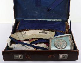 A leather suitcase of Masonic regalia