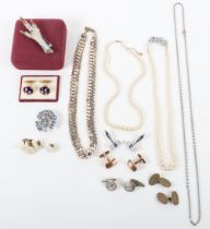A selection of costume jewellery including a pearl necklace with 9ct clasp
