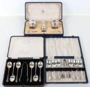 A silver cruet set, Mappin & Webb, Birmingham 1935