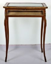 A French mahogany serpentine Bijouterie table in Louis XV style, probably late 19th century