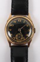 A vintage 9ct gold Swiss made wristwatch, circa 1940