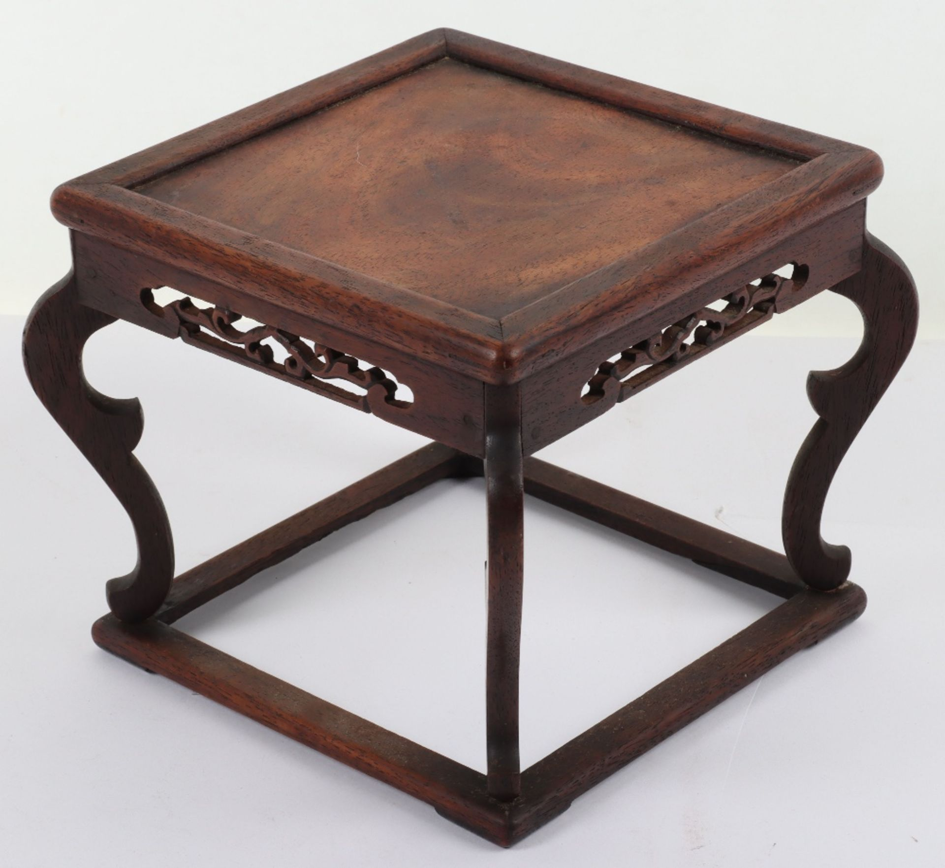 A 19th century small Chinese hardwood carved candle stand - Image 3 of 6