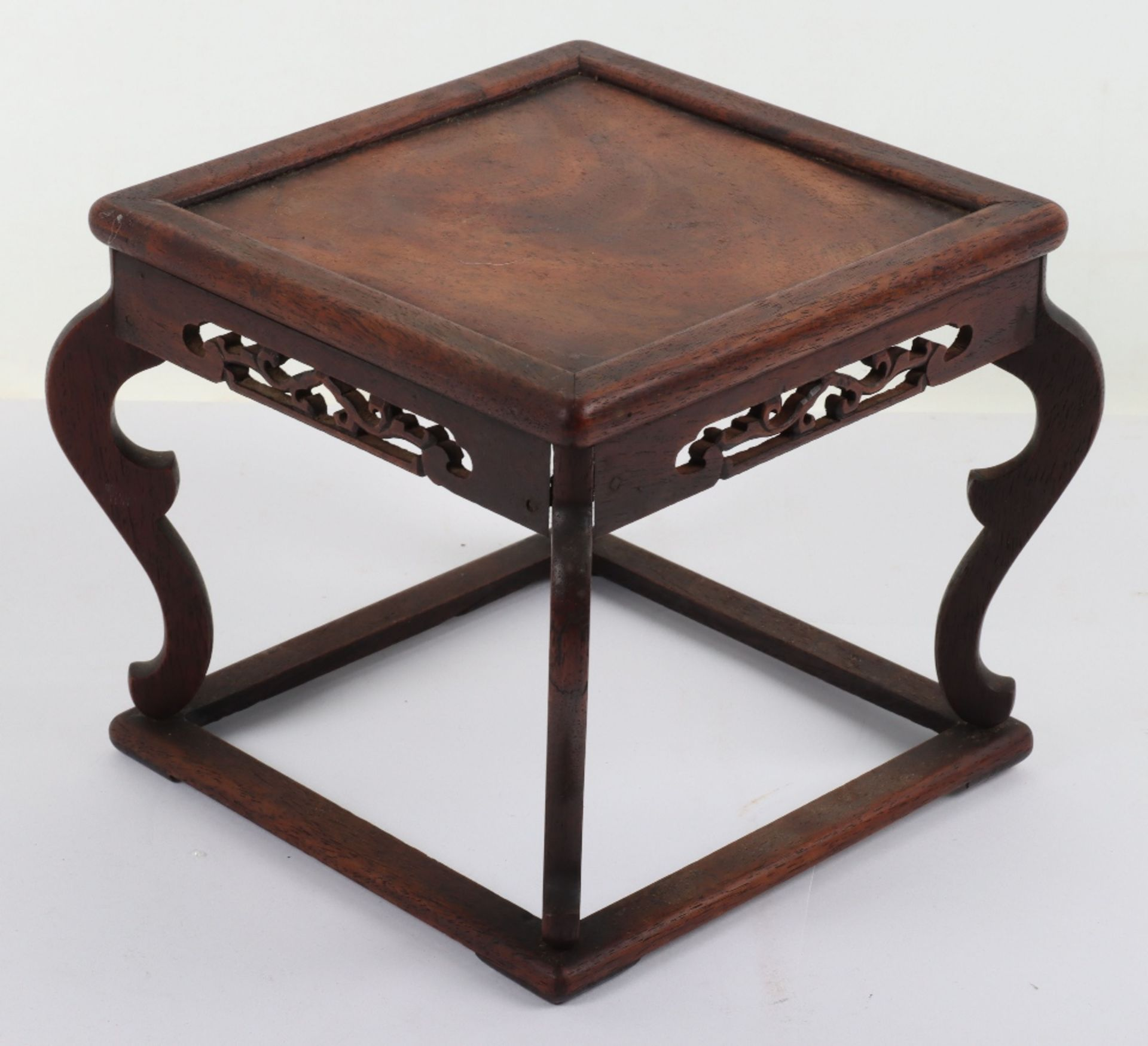 A 19th century small Chinese hardwood carved candle stand - Image 2 of 6